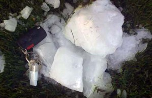 """One of the ice """"cannonballs"""" that fell on Delta, B.C., May 22-09 (photographer unidentified)"""