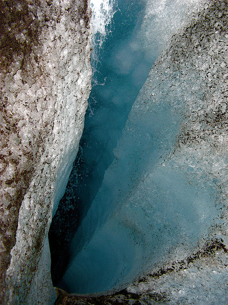 A moulin in the Langjökull glacier, Iceland, 2006