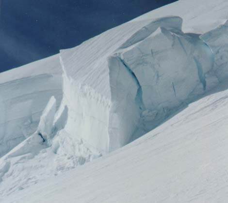 Serac along the trepidatious Emmons-Winthriop route, Mt. Ranier (photo: Tom Demshki)