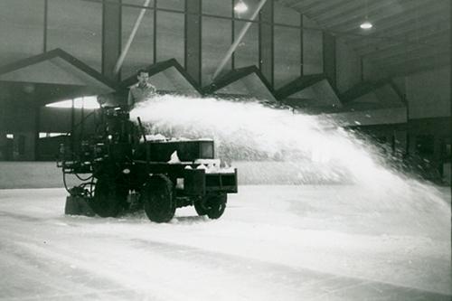 A Zamboni ice resurfacing prototype at Paramount Iceland in the 1940's (photo courtesy the Zamboni trivia page, http://www.zamboni.com/trivia/snapshotspg2%20-%20Evolution.html)
