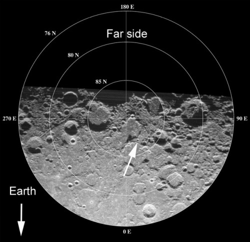 Low resolution Earth-based radar image of the North Pole of the Moon, pointing out the crater Erlanger (Arecibo Radiotelescope Puerto Rico, photo NASA website)