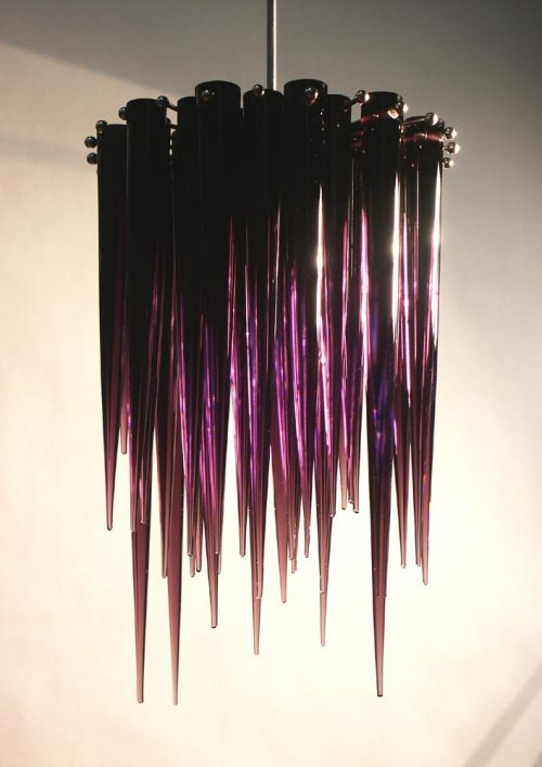 Purple icicle chandelier
