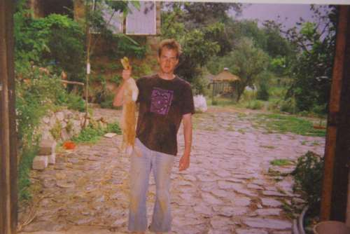 Craig with a successfully killed rabbit, back when it was easy (France, 1996, photo Craig Carpenter)